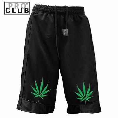 Men's Proclub Printed Marijuana Heavy Weight Basketball Mesh Shorts Pants All Sz