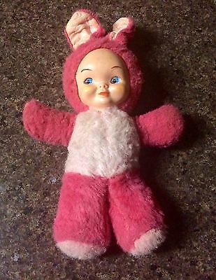 Vintage Gund Plush with Rubber/Vinyl Face  Young Girl In Bunny Costume