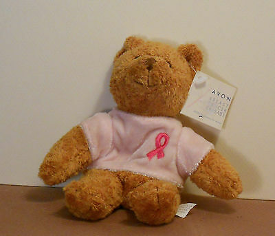 "6.5"" brown Avon bear w/pink shirt & breast cancer awareness ribbon"
