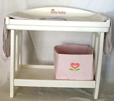 AMERICAN GIRL BITTY BABY Doll Changing Table & Pad Storage Bin Furniture RETIRED