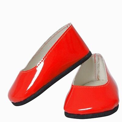 "18""Doll Red Patent Flats ( Fits:American Girl, My Life, Springfield, etc.)"