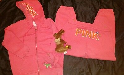 Victoria's Secret pink coral hoodie &  sweatpants w/ Easter bunny! Large. VS. L.