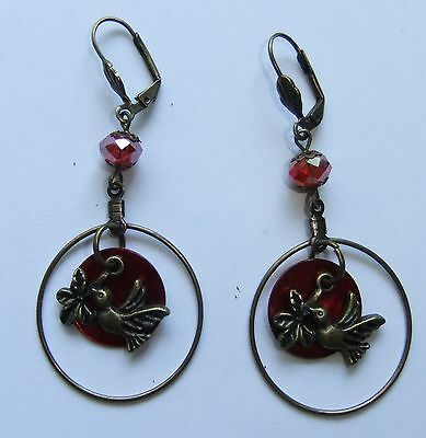 Antique Bird Ring Mussel Shell Coin Leverback Earrings 1 PAIR-CHOICE OF 7 COLORS