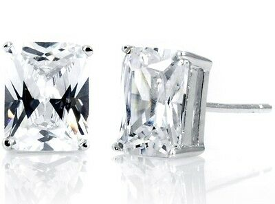 925 Silver CZ Stud Earrings EMERALD/RECTANGLE Cut White Clear Basket
