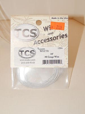 TCS #1204 White 10 feet of 30 Gauge Wire for DCC NEW
