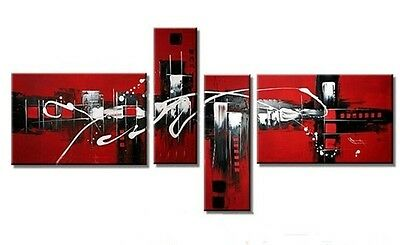 YH11425 NO Frame / 4pcs Oil Painting On Canvas Chinese red Set Modern Abstract