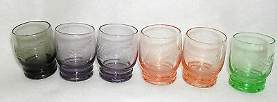 LOT OF 6 - DEPRESSION GLASS SHOT GLASSES WITH ETCHED DESIGN GREEN GLASS PINK +
