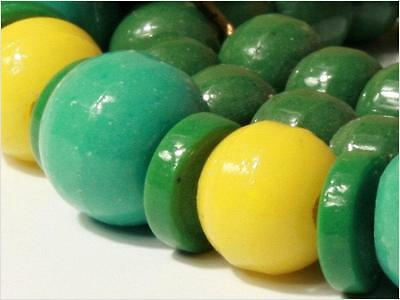 """17.5"""" Vtg Czech necklace yellow green round rondelle Prosser trade glass beads"""