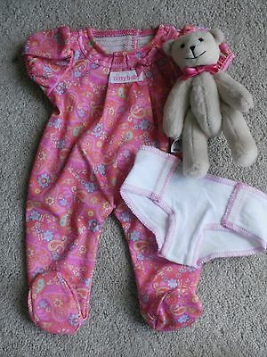 American Girl Bitty Baby Pink Paisley Sleeper With Diaper and Bitty Bear