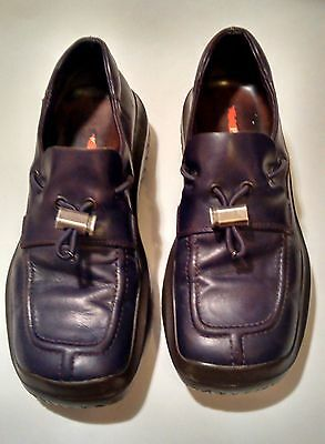 GENTLY USED Women's Prada Toggle Brown Leather Vibram Sole Loafers, sz 39.5/8.5!