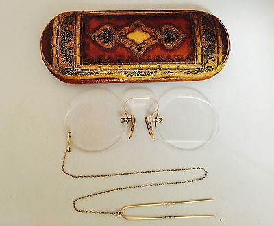 Antique GOLD Tone/Fill? PINCE NEZ  Spectacles w/ Hair Pin Chain w/ ORNATE Case