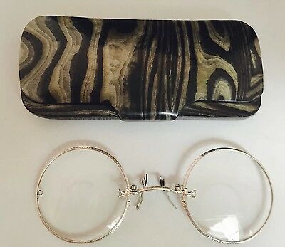 Antique 12K White GOLD Filled PINCE NEZ Pinch Nose Spectacles with Ornate Case