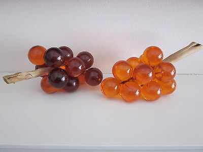 Vintage 1960 Mid Century Modern Orange Amber Lucite Acrylic Grapes Cluster Bunch