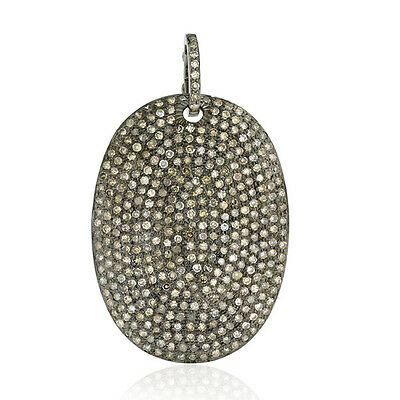 3.8ct Pave Diamond 925 Sterling Silver Oval Shape Pendant Christmas Gift Jewelry