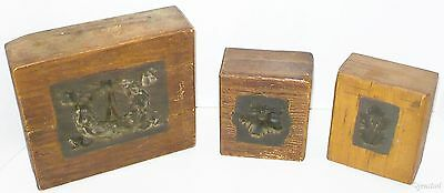 3 LOT VINTAGE NUMBERED STAMPERS MOLDS, WOODEN STAMPS & PRESSES 1890s/1900s USED