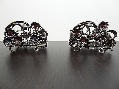 Partylite Pewter Candle Holders with Jeweled Flowers Set of 2 - Retired