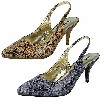 LADIES ANNE MICHELLE MID HEEL POINTED TOE SLINGBACK COURT SHOES L2216