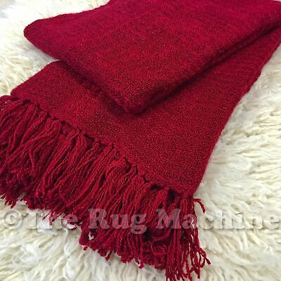 LUX BURGUNDY RED PLUSH COZY LUXURIOUS SOFT THROW RUG BLANKET 130x180cm **NEW**