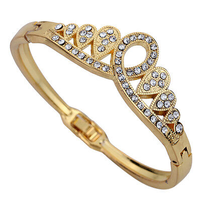 Gold Plated WaterDrop Crown Carve Crystal Chain Link Bracelet  Wedding Party