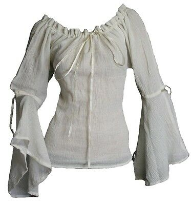 Gothic Mittelalter Gypsy Bluse Top Chemise Baumwolle natur- weiss 44 46 48