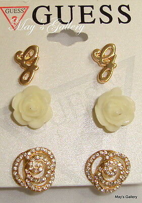 GUESS Jeans Rhinestones Trio Earring Earrings Post 3 set  gold tone Charms  NWT
