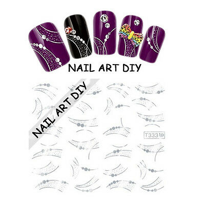 Nail Art water transfer Stickers-decals Silver-Adesivi Unghie-Argento Metallico