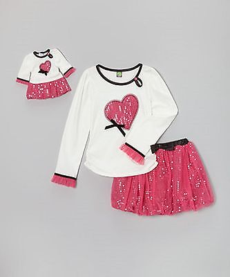 DOLLIE & ME Girls 2 Piece Outfit & Matching Doll Outfit- Pink -New-Size 6