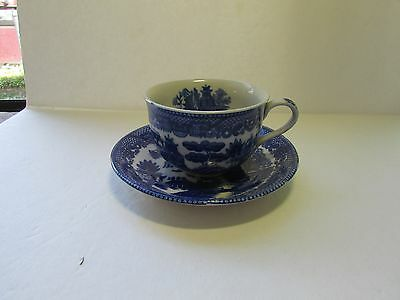 Antique   Blue Willow Tea Cup & Saucer Set Made Japan Pattern Cup Has willow on