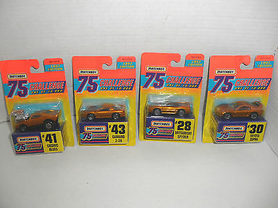 LOT OF 4 MATCHBOX 75 CHALLENGE GOLD CARS #28 #43 #30 #41 1997 NEW SEALED
