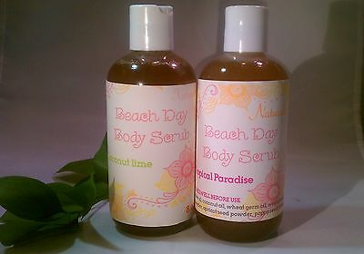 Tropical Beach Day Body Scrub Natural Exfoliating Body Wash 8 oz Toxin Free