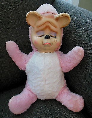 """14"""" Vintage CRYING BEAR Rubber Face Doll Stuffed Plush Animal Rushton Old Pink"""