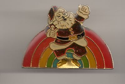 Vintage Santa Claus with Rainbow old enamel pin