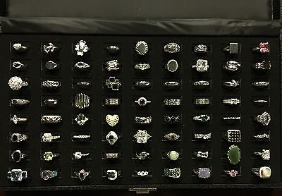 Lot of Sterling Silver 925 Rings 72 With Ring Tray Case Display