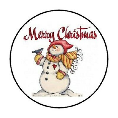 "48 Merry Christmas Snowman Envelope Seals Labels Stickers 1.2"" Round"