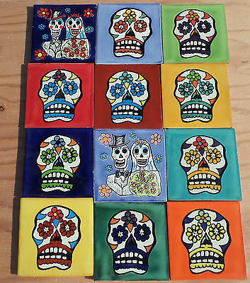 """12 Mexican Tile Day of the Dead wedding + Sugar Skulls 4"""" X 4"""" Multi color"""