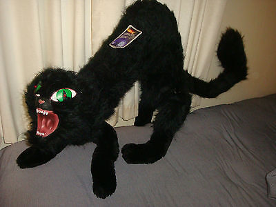 NEW jumbo GIANT BLACK CAT PROP DISPLAY~HUGE ARCHED BACK halloween~2 FEET PLUSH