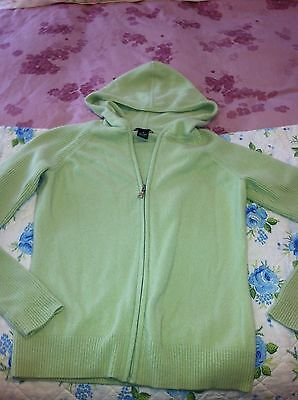 LADIES SWEATER DANIEL BISHOP 100 CASHMERE MEDIUM SPRING LIGHT GREEN hoodie