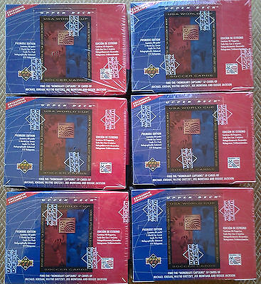 6 Factory sealed boxes of 1993 USA World Cup Soccer Cards by Upper Deck
