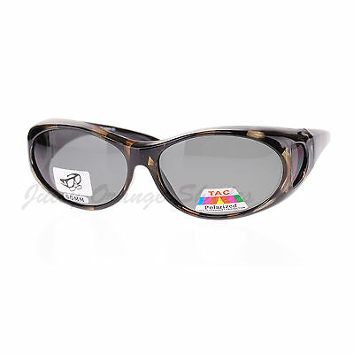 Fit Over Glasses Polarized Sunglasses Oval Frame for Small Glasses Black Brown