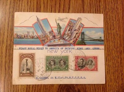First Royal Visit to New York commerorative  postcard/1939/ Queen Elizabeth