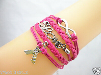 Rose Infinity/Love/Breast Cancer Awareness Sign Charms Leather Braided Bracelet