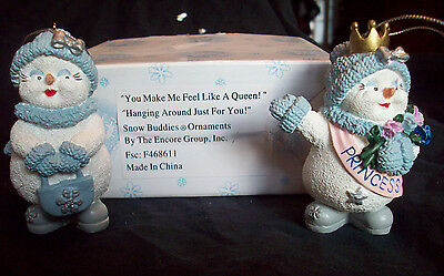 Snow Buddies Set of 2 Ornaments Feel Like a Queen & Hanging Around Princess EUC