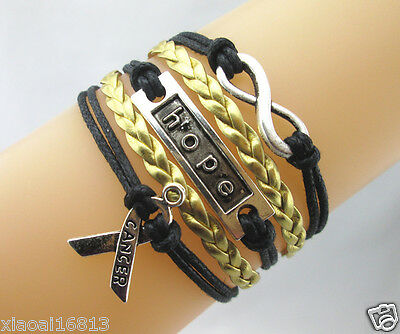 Infinity/Hope/Breast Cancer Ribbon Charms Leather Braided Bracelet - Black/Gold