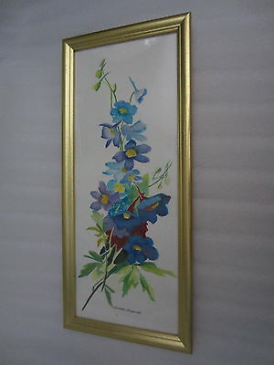 Still Life Floral Painting Bluish Flowers Watercolor Beautiful Frame Signed