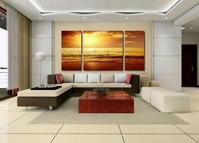 "LARGE CANVAS WALL PICTURE ""Sea Sunset Beach"" OIL PAINTING (No Frame)"