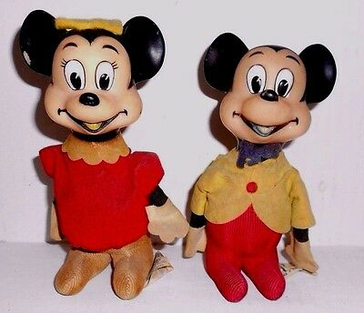 Vintage Mickey Mouse and Minnie Mouse Plush Dolls with Vinyl Heads 1964 JAPAN