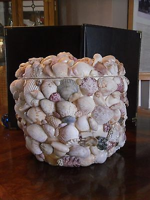 VINTAGE BAR STYROFOAM ICE BUCKET HAND DECORATED WITH SEASHELLS AWESOME & UNIQUE