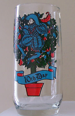 VINTAGE 10th DAY OF CHRISTMAS 6'' GLASS