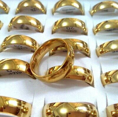 25x Gold Polish 6mm Band Stainless Steel Engagement Wedding Ring Wholesale lots