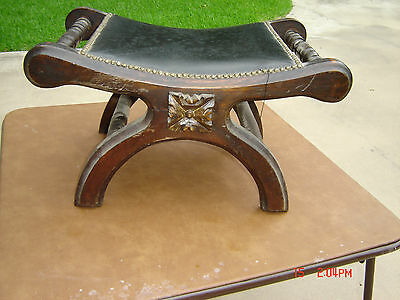 Mexican Studded Carved Wood & Black Leather Stool